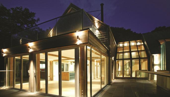 eikenhouten passiefhuis villa met eiken frame en cellulose isolatie
